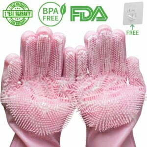 Silicone Dishwashing Scrubber Gloves Aprons,Gloves & Towels 2