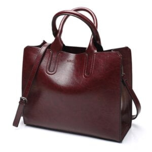 Women's Oil Leather Tote Shoulder Bag Top-Handle Bags
